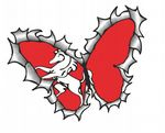 Ripped Torn Metal Butterfly Design With Kent County Flag Motif External Vinyl Car Sticker 125x90mm